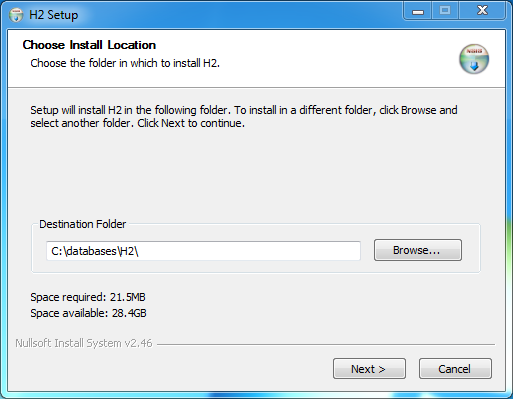 H2 database Installation on Windows: installation installation