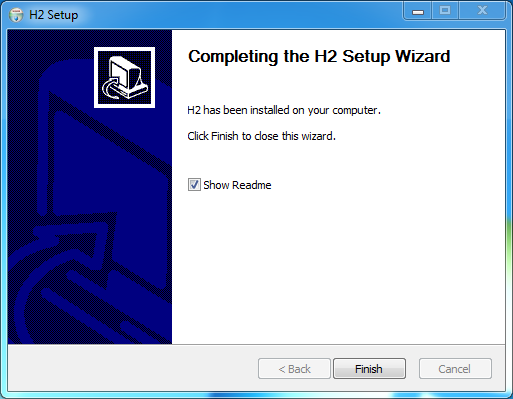 H2 database Installation on Windows: h2 installed