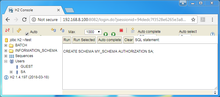 Create H2 database schema: the command