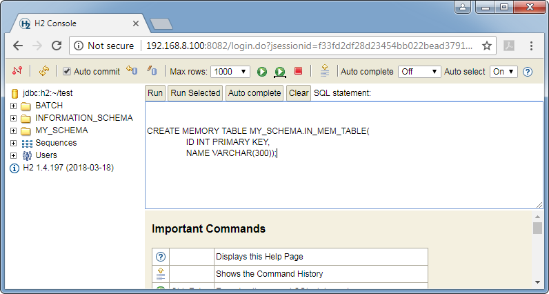Create H2 database in-memory table: command