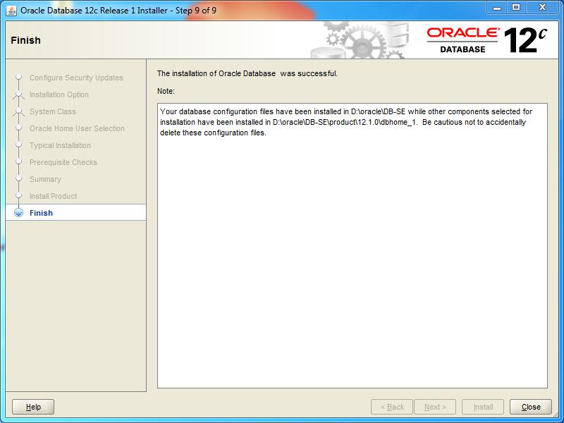 Oracle database 12cR1 (12 1 0 2 0) installation on Windows