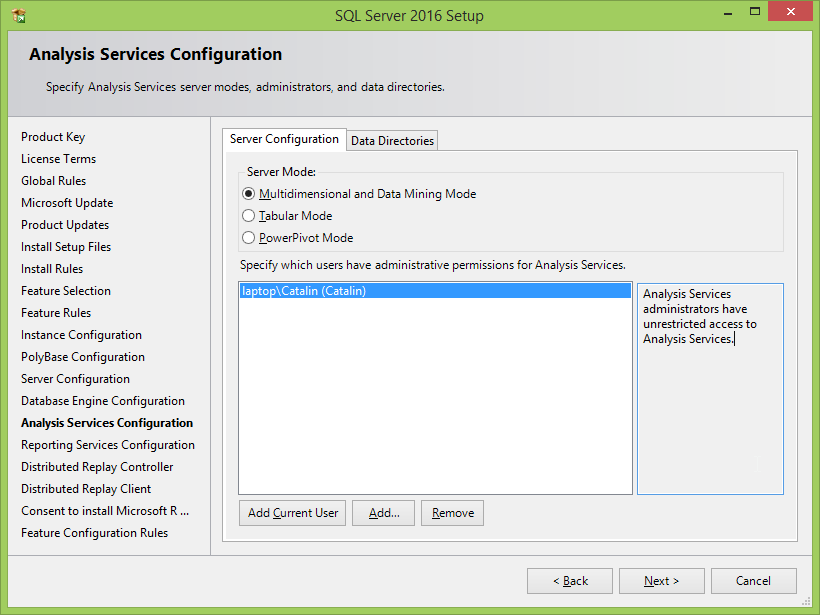Microsoft SQL Server 2016 installation: analysis services configuration