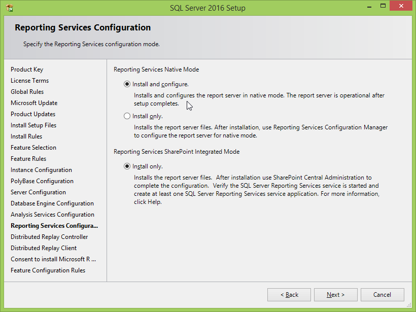 Microsoft SQL Server 2016 installation: reporting services