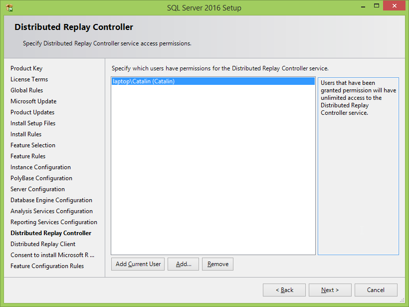 Microsoft SQL Server 2016 installation: distributed replay controller