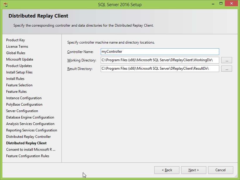 Microsoft SQL Server 2016 installation: distributed replay client