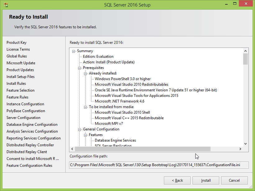 Microsoft SQL Server 2016 installation: features