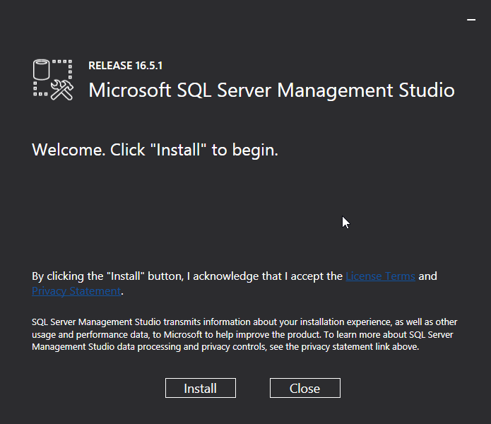 Microsoft SQL Server Management Studio installation: install