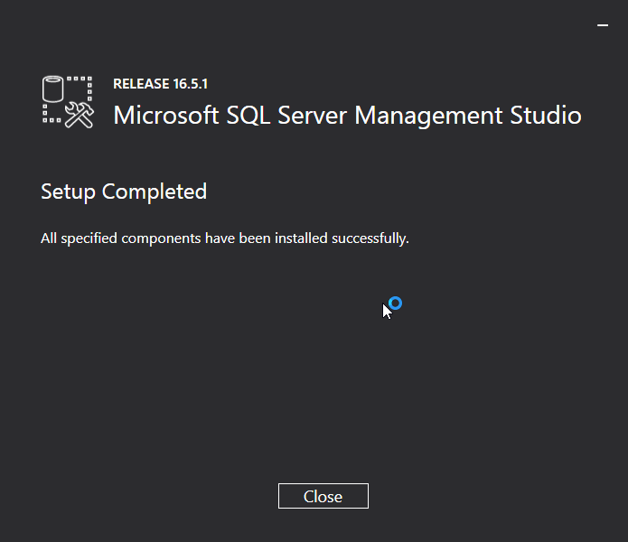 Microsoft SQL Server Management Studio installation:  installed
