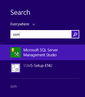 Microsoft SQL Server Management Studio installation: search