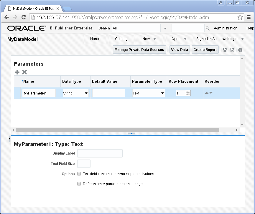 Add a Parameter to Oracle BI Publisher Data Set