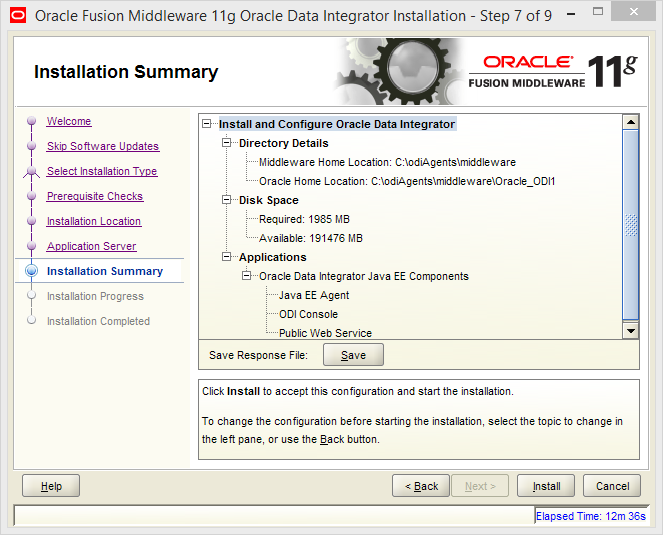 Install Java EE Agent in ODI 11g: installation summary