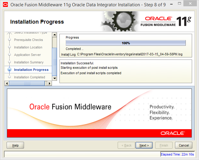 Install Java EE Agent in ODI 11g: installation progress