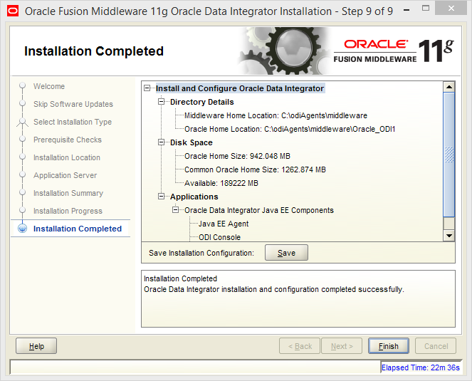 Install Java EE Agent in ODI 11g: installation completed