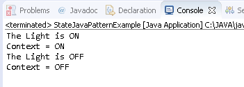State Design Pattern in Java : example result