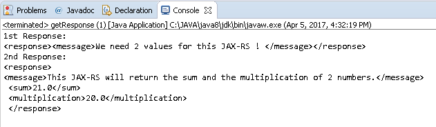 Create Java RESTful Web Service (JAX-RS) Client - using Jersey - consuming XML : java client response - output