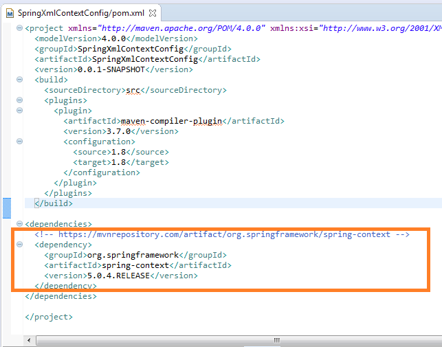 Spring context configuration using XML file (example) : pom.xml file