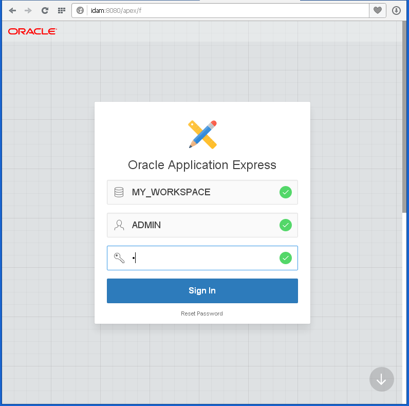 create Oracle APEX Application - hello word: sign in