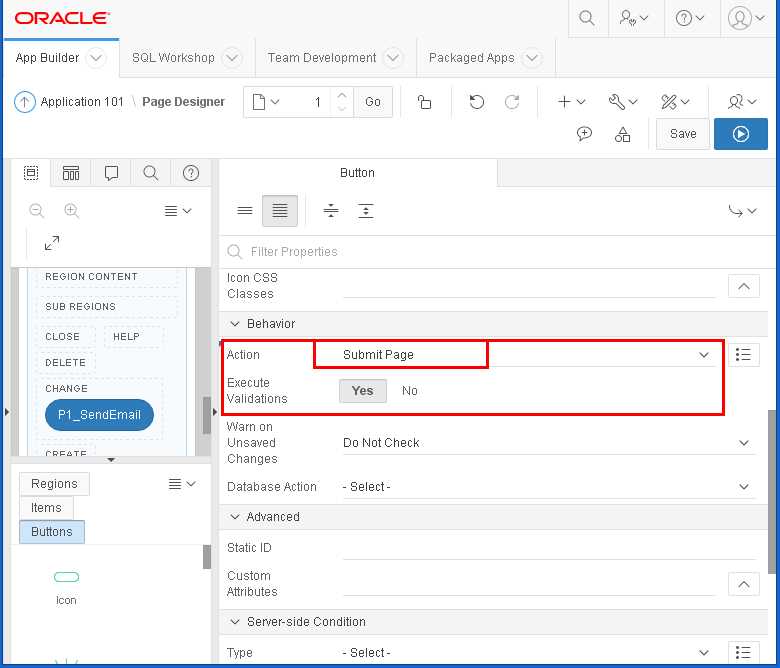 send email from Oracle APEX : button