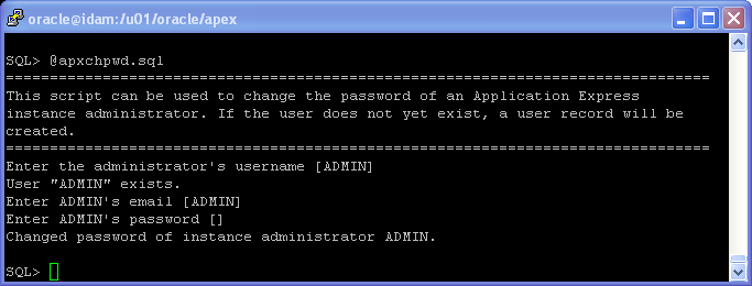 Oracle APEX 5.1 Installation on Linux - using HTTP Server (OHS): Oracle APEX 5 Installation change password