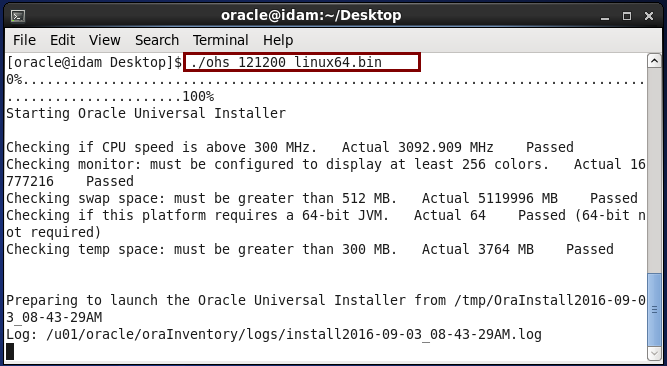 install Oracle HTTP Server (OHS) 12.1.2 : start installation