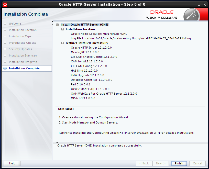 install Oracle HTTP Server (OHS) 12.1.2 : installation complete