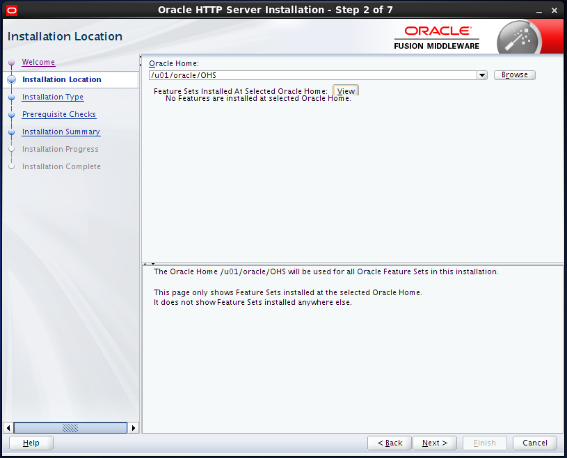 install Oracle HTTP Server (OHS) 12.1.2 : installation location