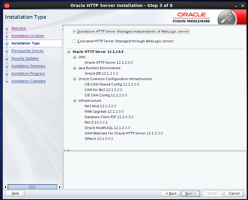 install Oracle HTTP Server (OHS) 12.1.2 : installation type