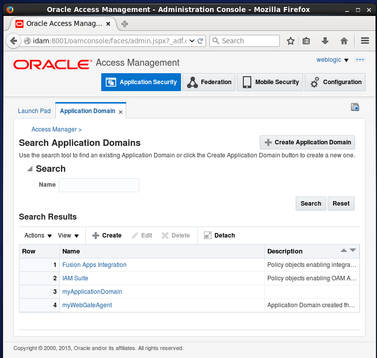 Create Oracle Access Manager (OAM) Resource: Application Domain