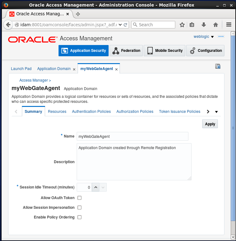 Create Oracle Access Manager (OAM) Resource: Summary