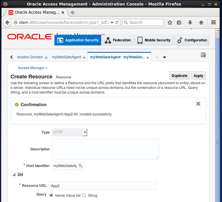Create Oracle Access Manager (OAM) Resource: Created