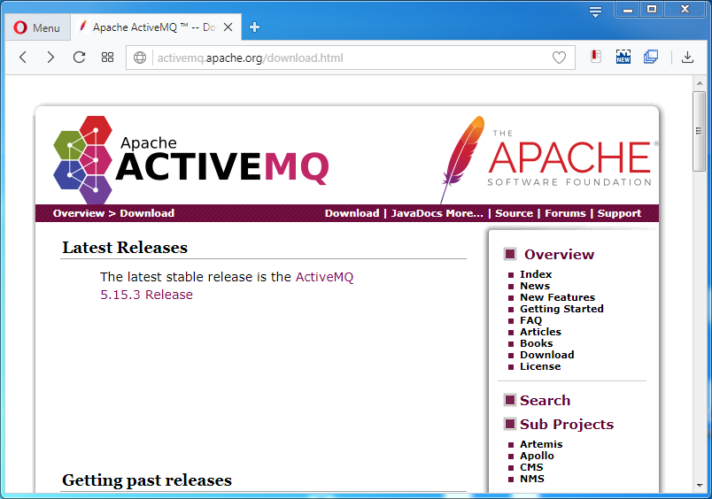 Install ActiveMQ on Windows: download page