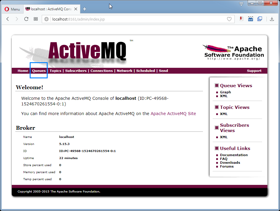 Create ActiveMQ Queue: the admin console