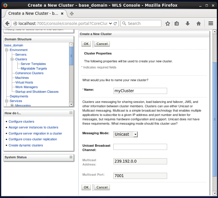 How to create a new WebLogic domain Cluster - step by step