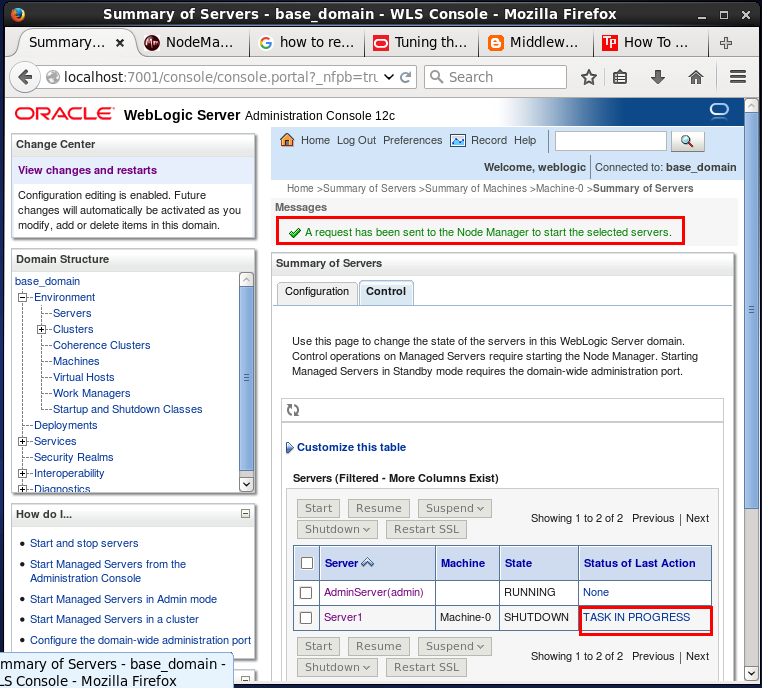 How to start/ stop (shutdown) the Oracle WebLogic servers (admin server &  managed server)